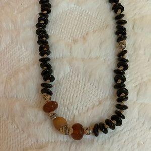 Lucky Brand Jewelry - Lucky Brand boho long necklace, black w/tan suede
